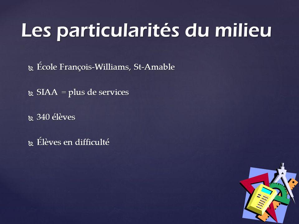 École François-Williams, St-Amable École François-Williams, St-Amable SIAA = plus de services SIAA = plus de services 340 élèves 340 élèves Élèves en