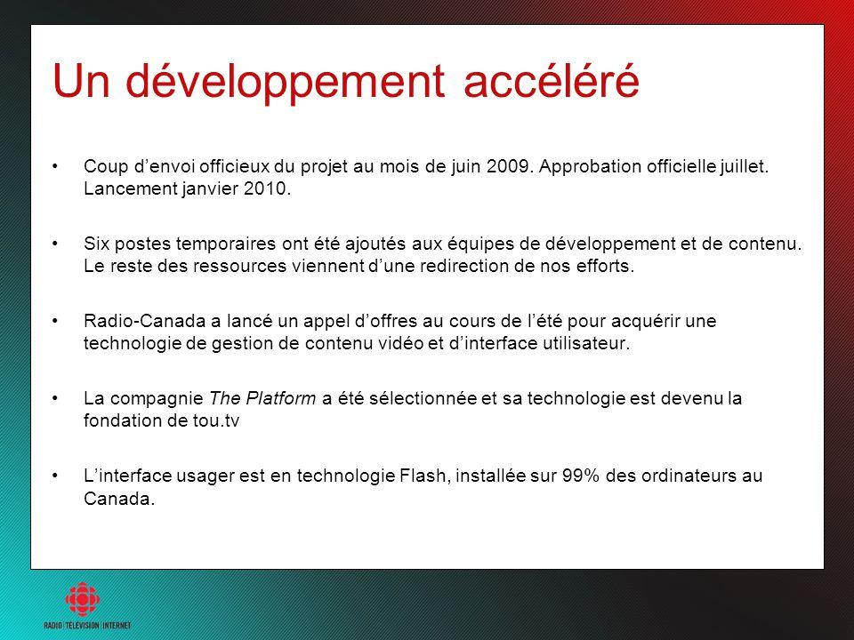 Un développement accéléré Coup denvoi officieux du projet au mois de juin 2009. Approbation officielle juillet. Lancement janvier 2010. Six postes tem