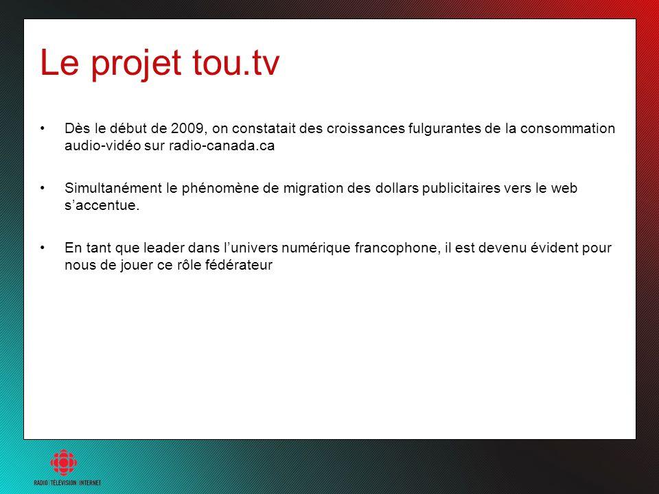 Le projet tou.tv Dès le début de 2009, on constatait des croissances fulgurantes de la consommation audio-vidéo sur radio-canada.ca Simultanément le p