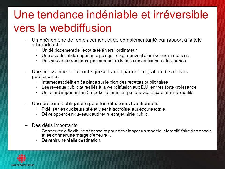 Une tendance indéniable et irréversible vers la webdiffusion –Un phénomène de remplacement et de complémentarité par rapport à la télé « broadcast » U
