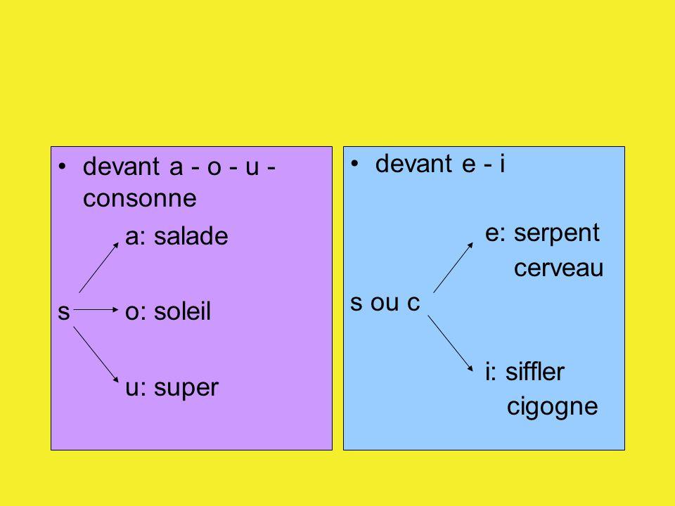 devant a - o - u - consonne a: salade so: soleil u: super devant e - i e: serpent cerveau s ou c i: siffler cigogne