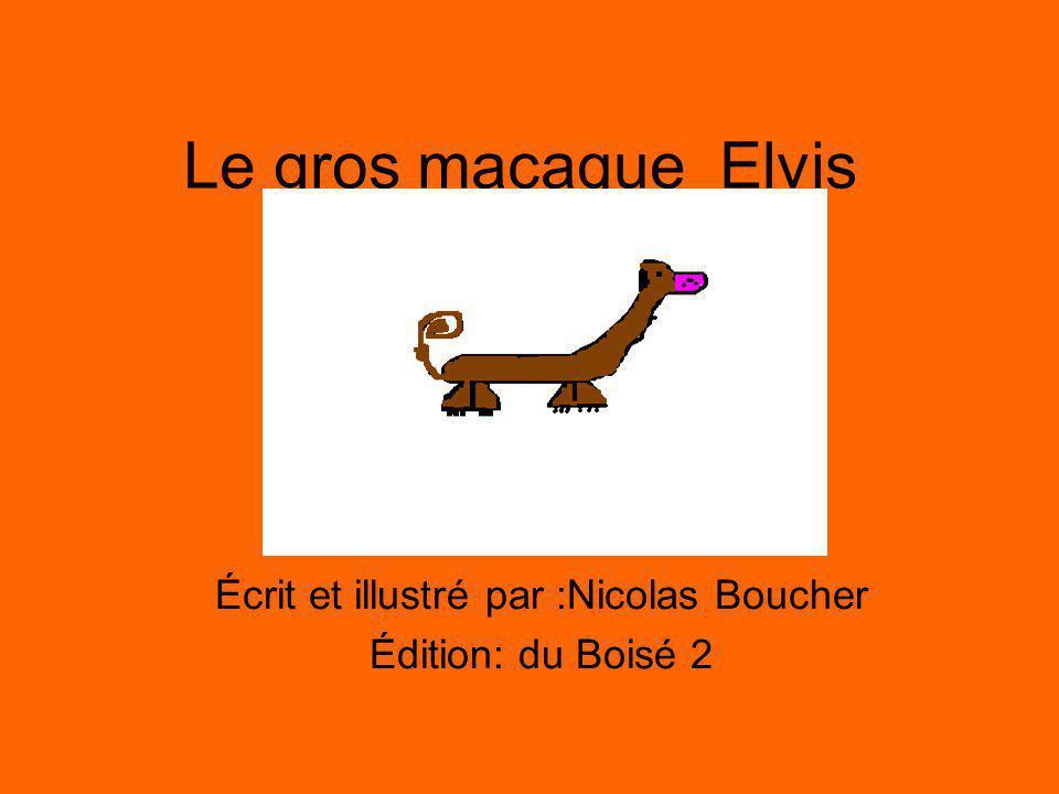 Le gros macaque Elvis Écrit et illustré par :Nicolas Boucher Édition: du Boisé 2