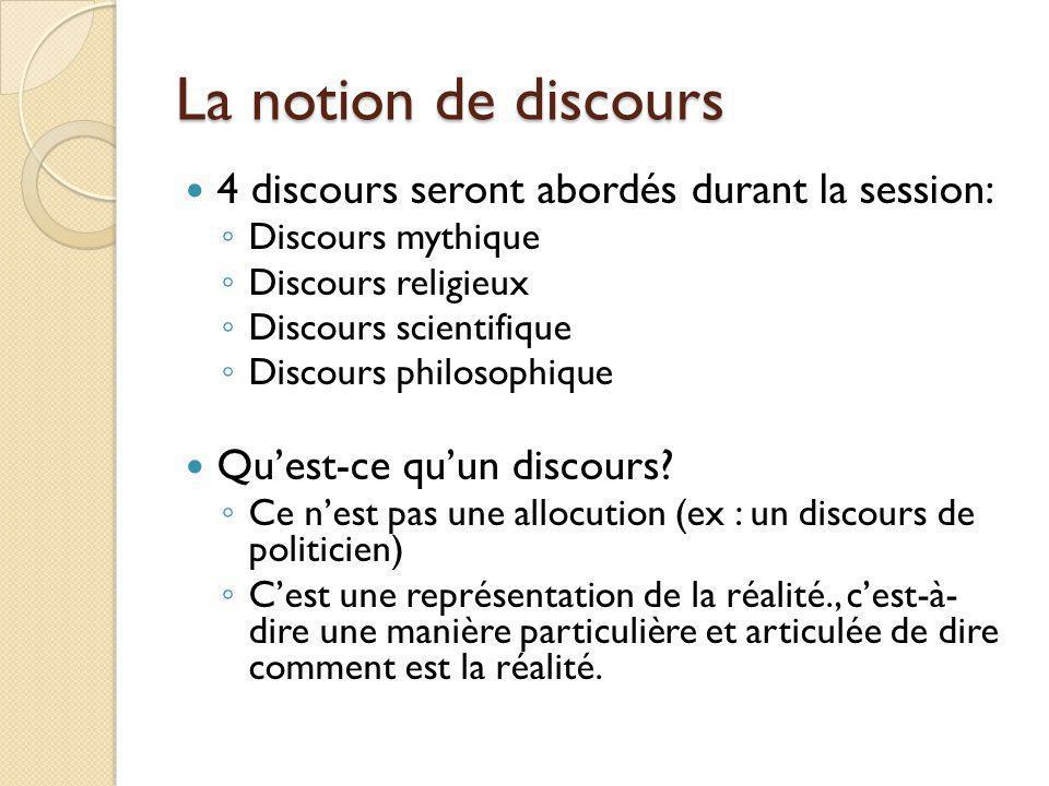 La notion de discours 4 discours seront abordés durant la session: Discours mythique Discours religieux Discours scientifique Discours philosophique Q