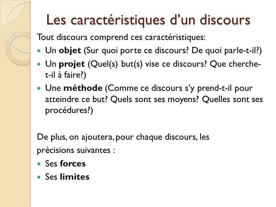 Les caractéristiques dun discours Tout discours comprend ces caractéristiques: Un objet (Sur quoi porte ce discours? De quoi parle-t-il?) Un projet (Q