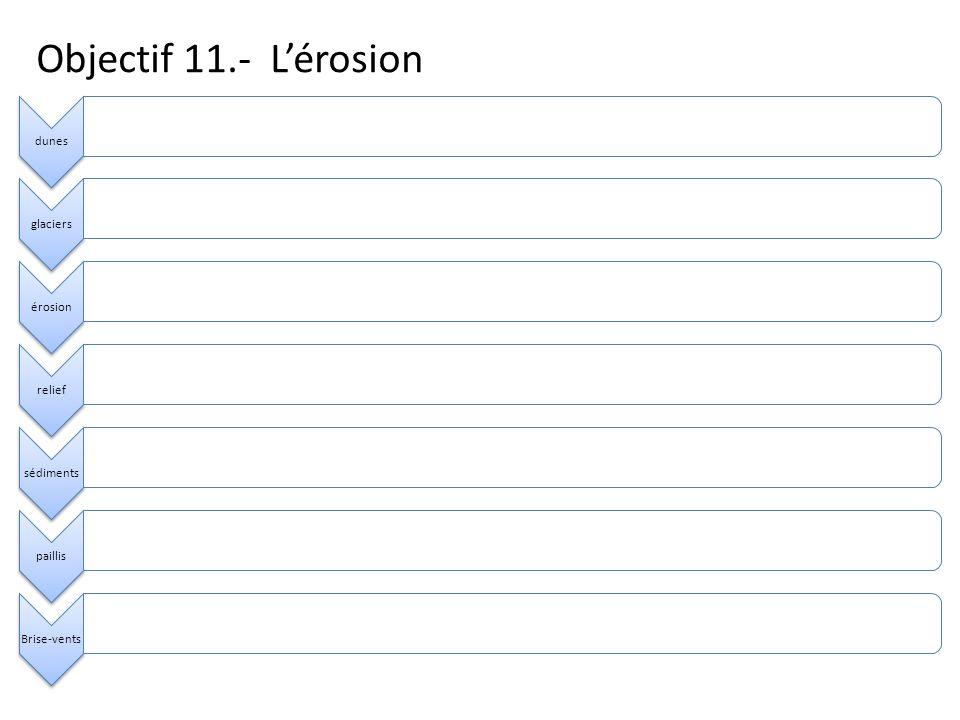 Objectif 11.- Lérosion dunesglaciersérosionreliefsédimentspaillisBrise-vents