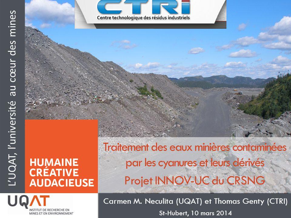 LUQAT, luniversité au cœur des mines Traitement des eaux minières contaminées par les cyanures et leurs dérivés Projet INNOV-UC du CRSNG Carmen M. Nec