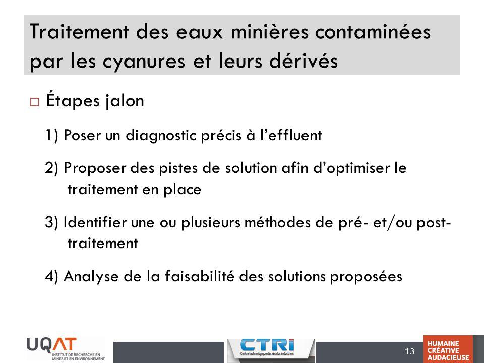 13 Traitement des eaux minières contaminées par les cyanures et leurs dérivés Étapes jalon 1) Poser un diagnostic précis à leffluent 2) Proposer des p