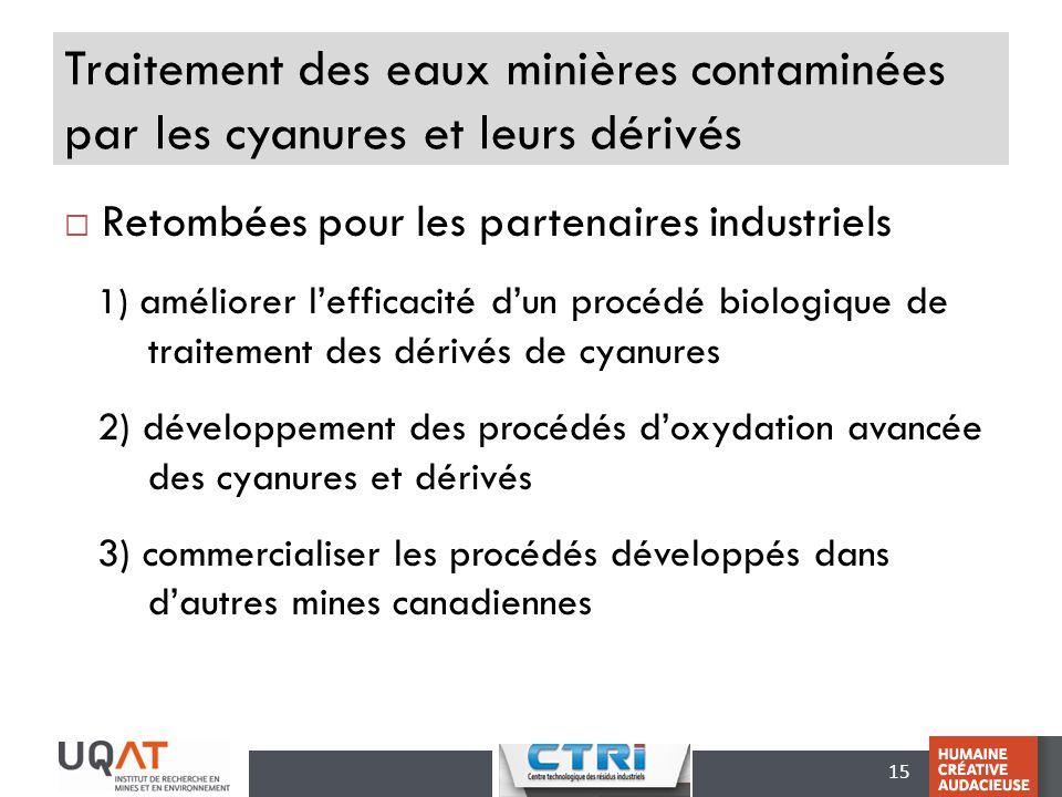15 Traitement des eaux minières contaminées par les cyanures et leurs dérivés Retombées pour les partenaires industriels 1) améliorer lefficacité dun