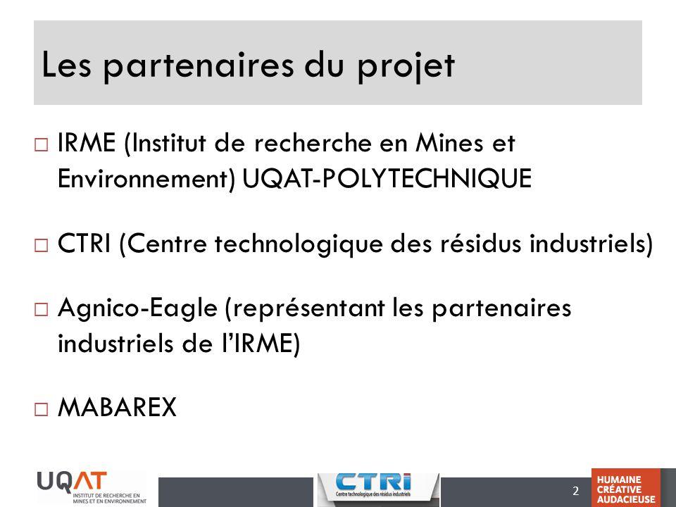 2 Les partenaires du projet IRME (Institut de recherche en Mines et Environnement) UQAT-POLYTECHNIQUE CTRI (Centre technologique des résidus industrie