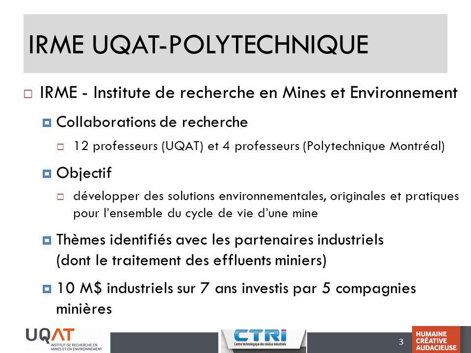 3 IRME UQAT-POLYTECHNIQUE IRME - Institute de recherche en Mines et Environnement Collaborations de recherche 12 professeurs (UQAT) et 4 professeurs (