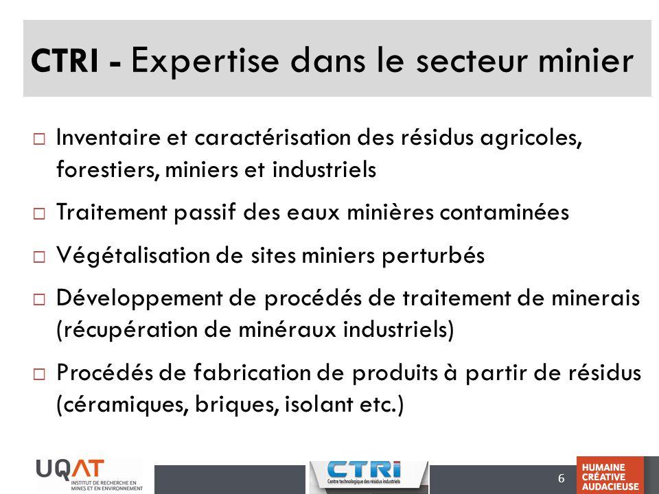 6 CTRI - Expertise dans le secteur minier Inventaire et caractérisation des résidus agricoles, forestiers, miniers et industriels Traitement passif de