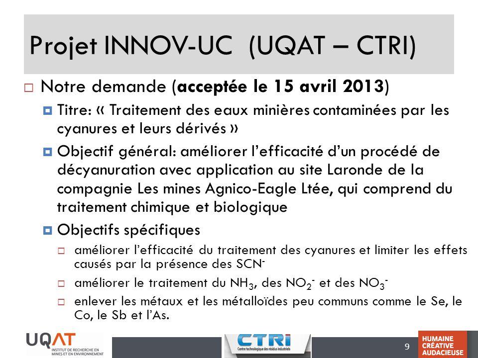 9 Projet INNOV-UC (UQAT – CTRI) Notre demande (acceptée le 15 avril 2013) Titre: « Traitement des eaux minières contaminées par les cyanures et leurs