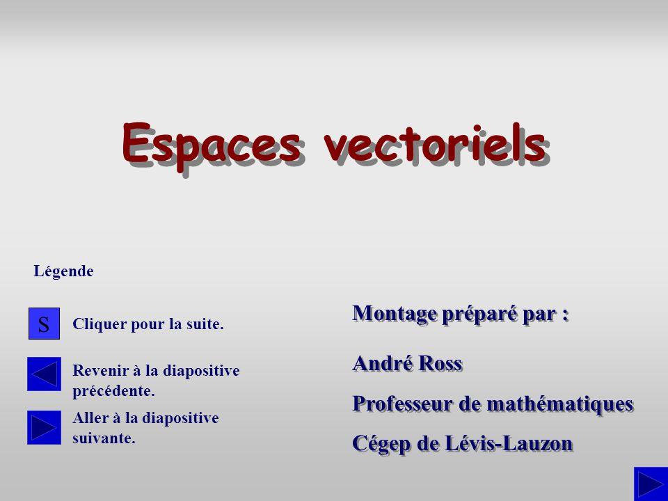Montage préparé par : André Ross Professeur de mathématiques Cégep de Lévis-Lauzon André Ross Professeur de mathématiques Cégep de Lévis-Lauzon Espaces vectoriels S Cliquer pour la suite.