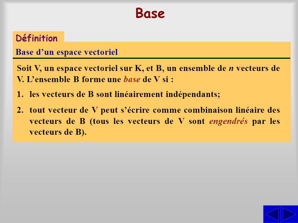 Base Définition Base dun espace vectoriel Soit V, un espace vectoriel sur K, et B, un ensemble de n vecteurs de V. Lensemble B forme une base de V si