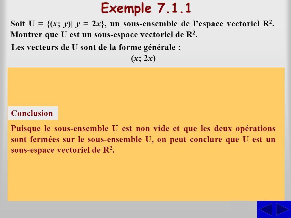 Exemple 7.1.1 Soit U = {(x; y)| y = 2x}, un sous-ensemble de lespace vectoriel R 2. Montrer que U est un sous-espace vectoriel de R 2. S S En posant,
