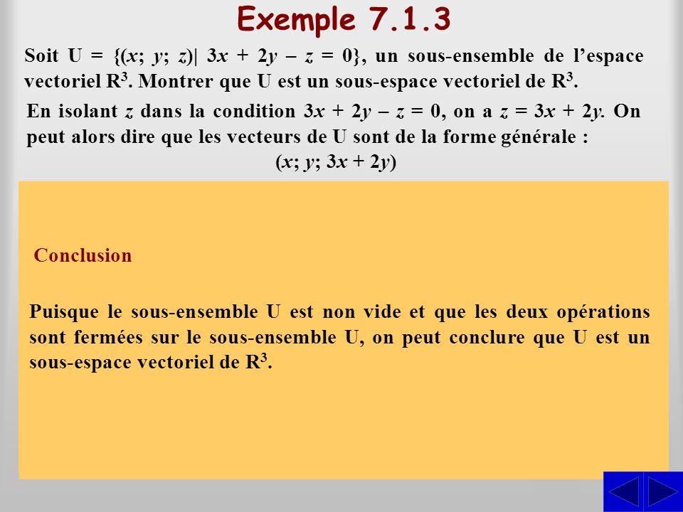 Exemple 7.1.3 Soit U = {(x; y; z)| 3x + 2y – z = 0}, un sous-ensemble de lespace vectoriel R 3. Montrer que U est un sous-espace vectoriel de R 3. S S