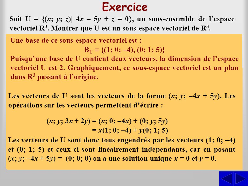 S SSSS Exercice Soit U = {(x; y; z)| 4x – 5y + z = 0}, un sous-ensemble de lespace vectoriel R 3. Montrer que U est un sous-espace vectoriel de R 3. E