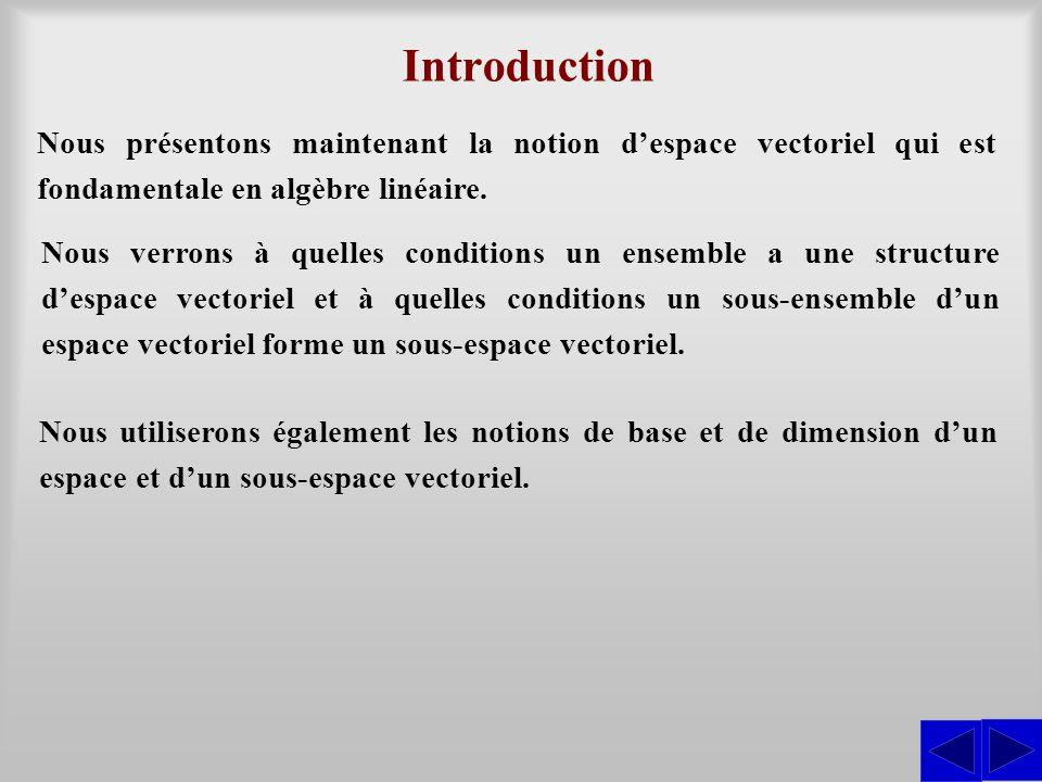 Nous présentons maintenant la notion despace vectoriel qui est fondamentale en algèbre linéaire. Introduction Nous verrons à quelles conditions un ens