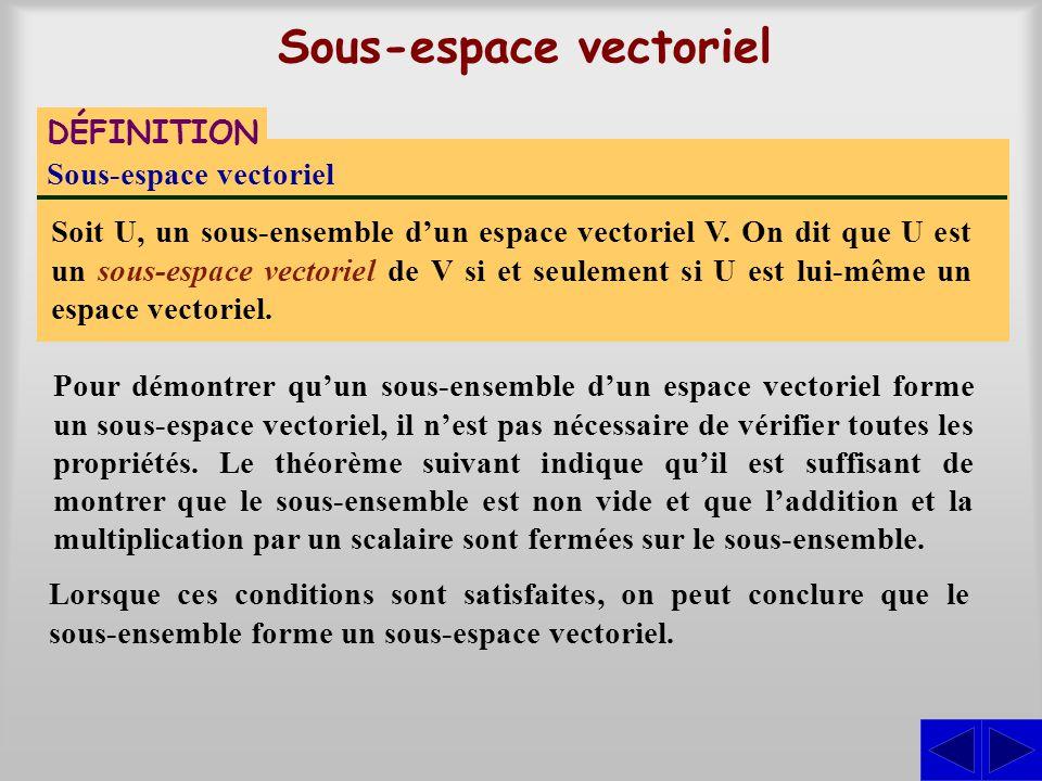 Sous-espace vectoriel DÉFINITION Sous-espace vectoriel Soit U, un sous-ensemble dun espace vectoriel V. On dit que U est un sous-espace vectoriel de V