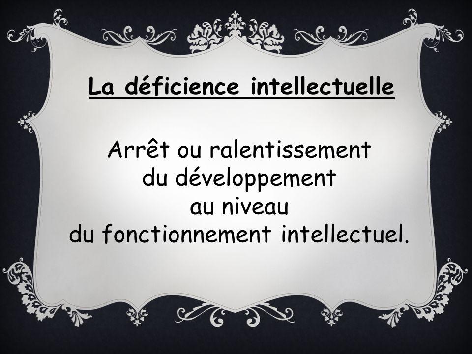 Arrêt ou ralentissement du développement au niveau du fonctionnement intellectuel. La déficience intellectuelle