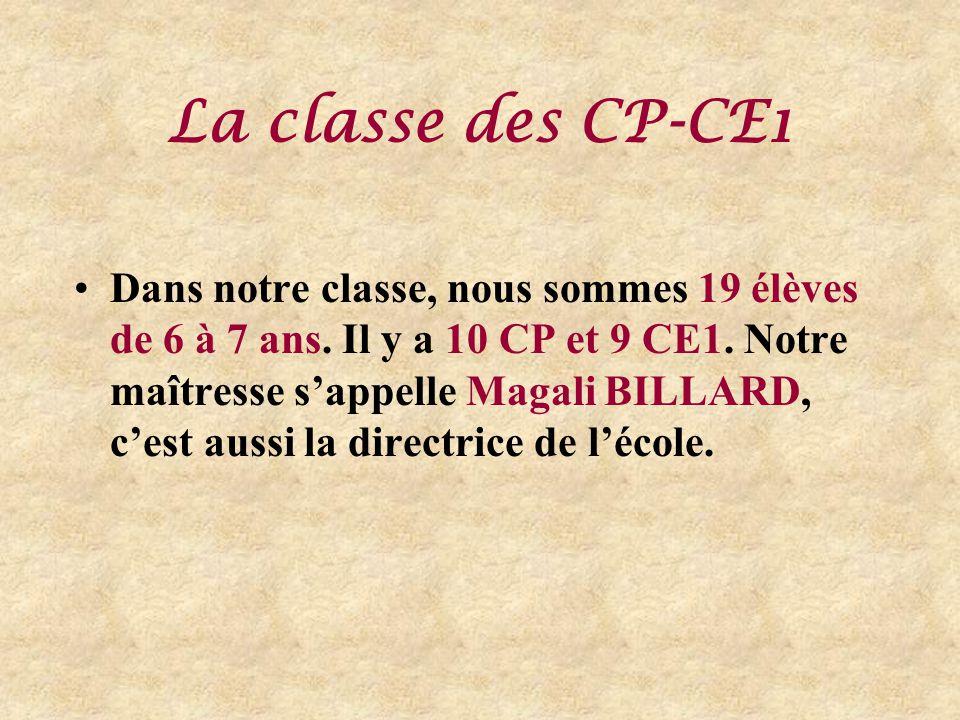 La classe des CP-CE1 Dans notre classe, nous sommes 19 élèves de 6 à 7 ans.