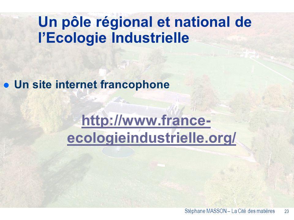 23 Stéphane MASSON – La Cité des matières Un site internet francophone http://www.france- ecologieindustrielle.org/ Un pôle régional et national de lEcologie Industrielle