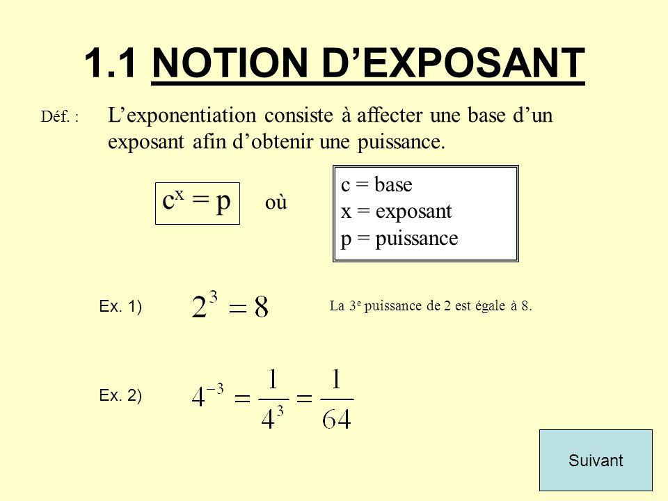 c x = p où 1.1 NOTION DEXPOSANT c = base x = exposant p = puissance Déf. : Lexponentiation consiste à affecter une base dun exposant afin dobtenir une