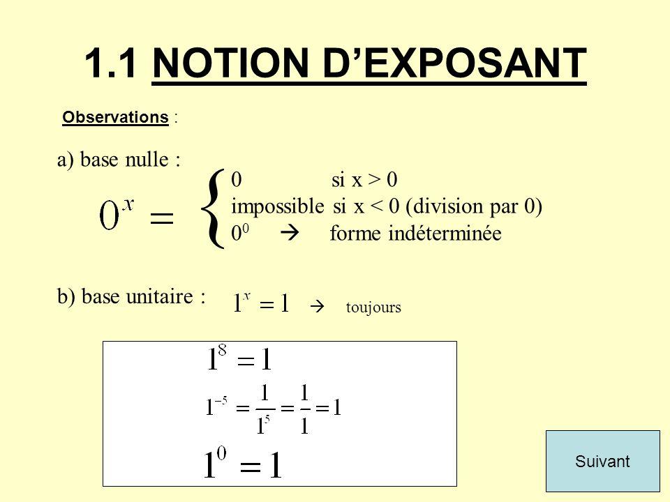 1.1 NOTION DEXPOSANT Observations : a) base nulle : { 0 si x > 0 impossible si x < 0 (division par 0) 0 0 forme indéterminée b) base unitaire : toujou