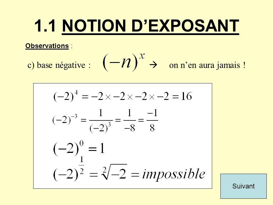 1.1 NOTION DEXPOSANT Observations : c) base négative : on nen aura jamais ! Suivant