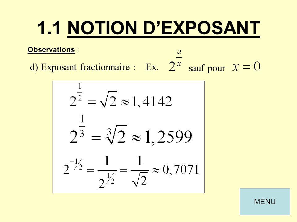 1.1 NOTION DEXPOSANT Observations : d) Exposant fractionnaire : Ex. sauf pour MENU