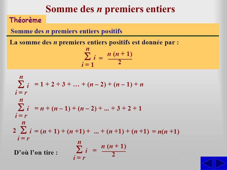 Théorème Somme des n premiers entiers positifs La somme des n premiers entiers positifs est donnée par : i = 1 n i Somme des n premiers entiers SSS =