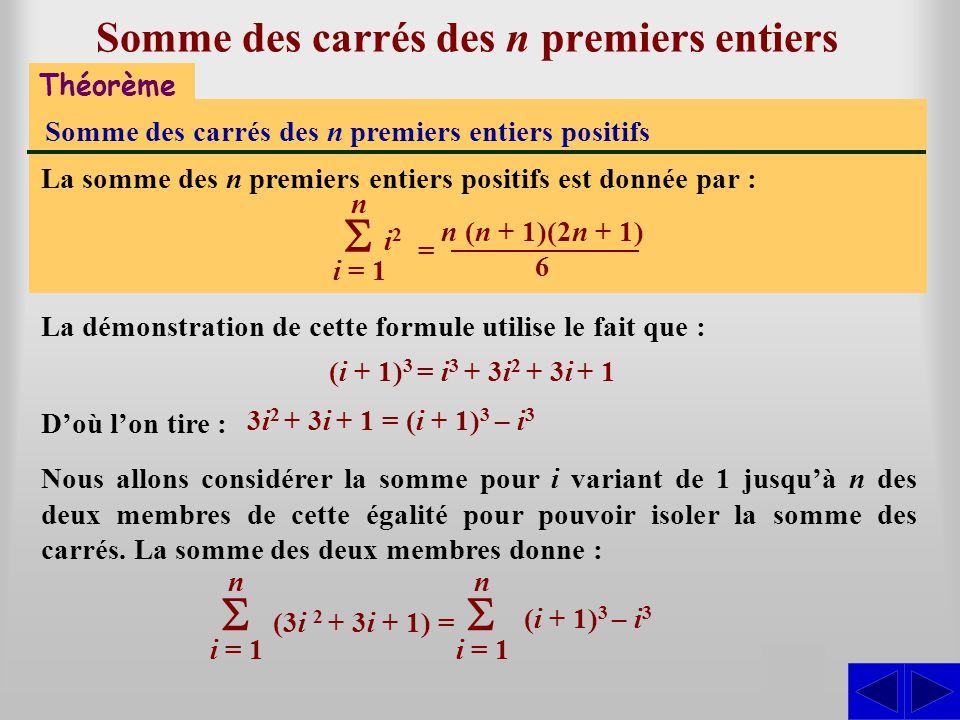 Théorème Somme des carrés des n premiers entiers positifs La somme des n premiers entiers positifs est donnée par : i = 1 n i2i2 Somme des carrés des