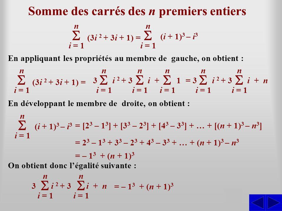 Somme des carrés des n premiers entiers SS En appliquant les propriétés au membre de gauche, on obtient : i = 1 n (3i 2 + 3i + 1) = i = 1 n (i + 1) 3