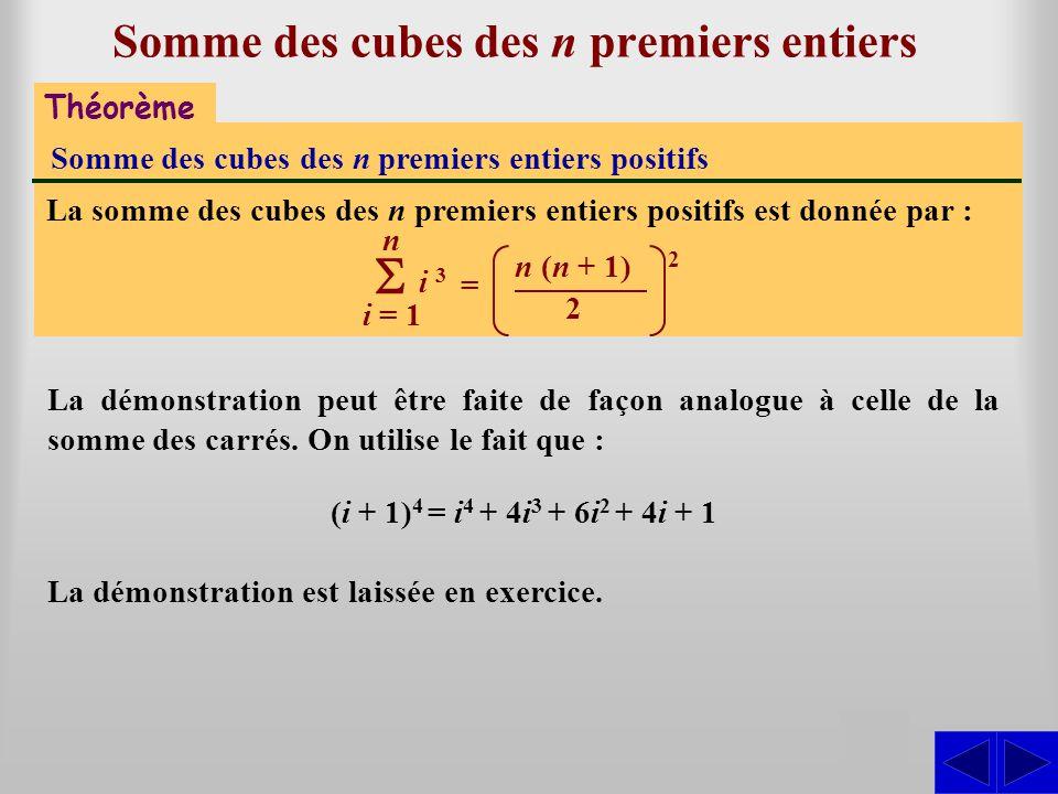 Théorème Somme des cubes des n premiers entiers positifs La somme des cubes des n premiers entiers positifs est donnée par : i = 1 n i 3 Somme des cub
