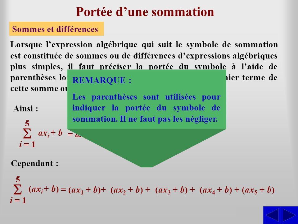 S Exercices Écrire le développement des expressions suivantes et évaluer : a)a) S k = 3 7 k2k2 a)a) k = 3 5 k2k2 = 3 2 + 4 2 + 5 2 + 6 2 + 7 2 = 135 b)b) j = 2 6 (2j – 1) b)b) j = 2 6 (2j – 1) = 3 + 5 + 7 + 9 + 11= 35 c)c) i = 1 5 3i – 10 c)c) i = 1 5 3i – 10 = 1 3 – 2 3 + 3 3 – 4 3 + 5 3 – 6 3 = –135 d)d) i = 0 5 (–1) i (i + 1) 3 d)d) i = 0 5 (–1) i (i + 1) 3 S = 3 + 6 + 9 + 12 + 15 – 10 = 35 S