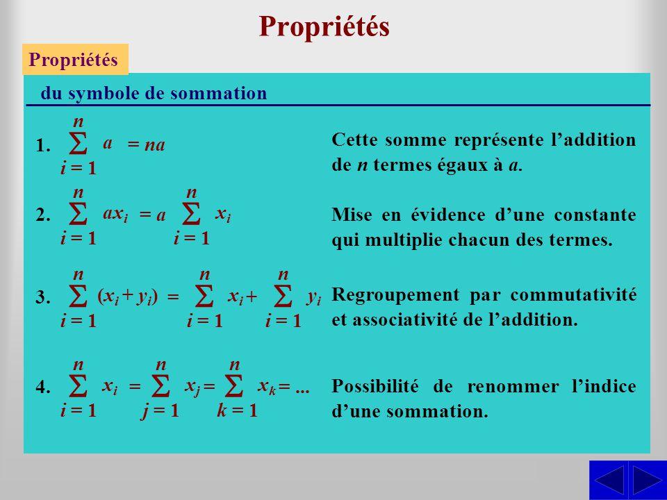 Propriétés du symbole de sommation 1. 2. 3. 4. i = 1 n a = nana Cette somme représente laddition de n termes égaux à a. i = 1 n ax i SSS = a i = 1 n x