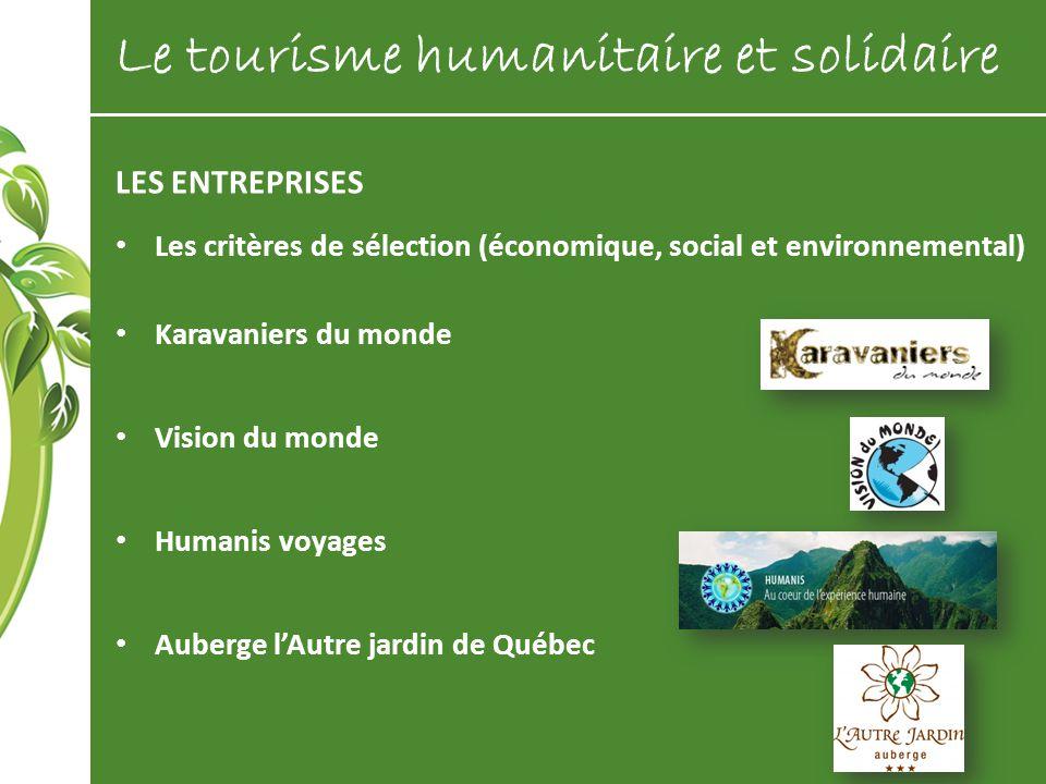LES ENTREPRISES Les critères de sélection (économique, social et environnemental) Karavaniers du monde Vision du monde Humanis voyages Auberge lAutre
