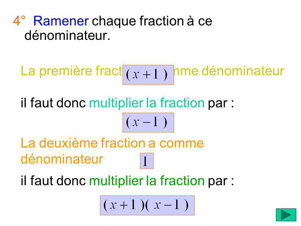 4° Ramener chaque fraction à ce dénominateur.