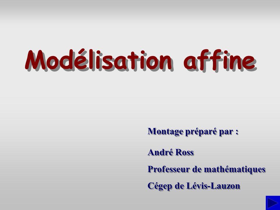 La modélisation affine consiste à déterminer léquation dune droite pour décrire le lien entre deux variables.
