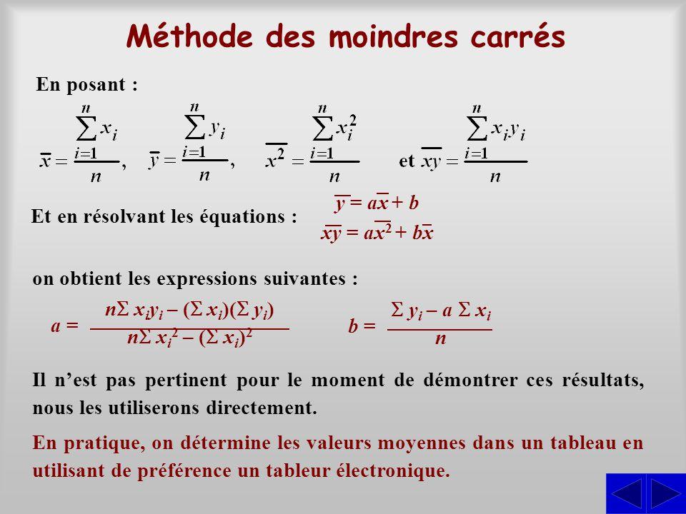 Méthode des moindres carrés En pratique, on détermine les valeurs moyennes dans un tableau en utilisant de préférence un tableur électronique. Et en r