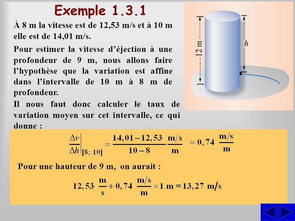 S Exemple 1.3.1 À 8 m la vitesse est de 12,53 m/s et à 10 m elle est de 14,01 m/s. Pour estimer la vitesse déjection à une profondeur de 9 m, nous all
