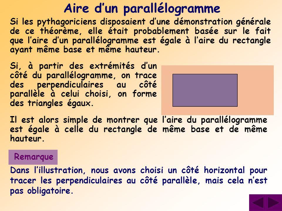 Si les pythagoriciens disposaient dune démonstration générale de ce théorème, elle était probablement basée sur le fait que laire dun parallélogramme