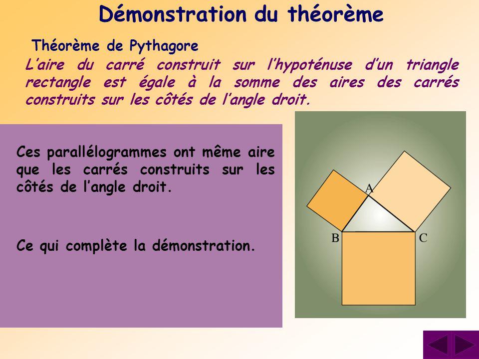 Théorème de Pythagore Laire du carré construit sur lhypoténuse dun triangle rectangle est égale à la somme des aires des carrés construits sur les côt