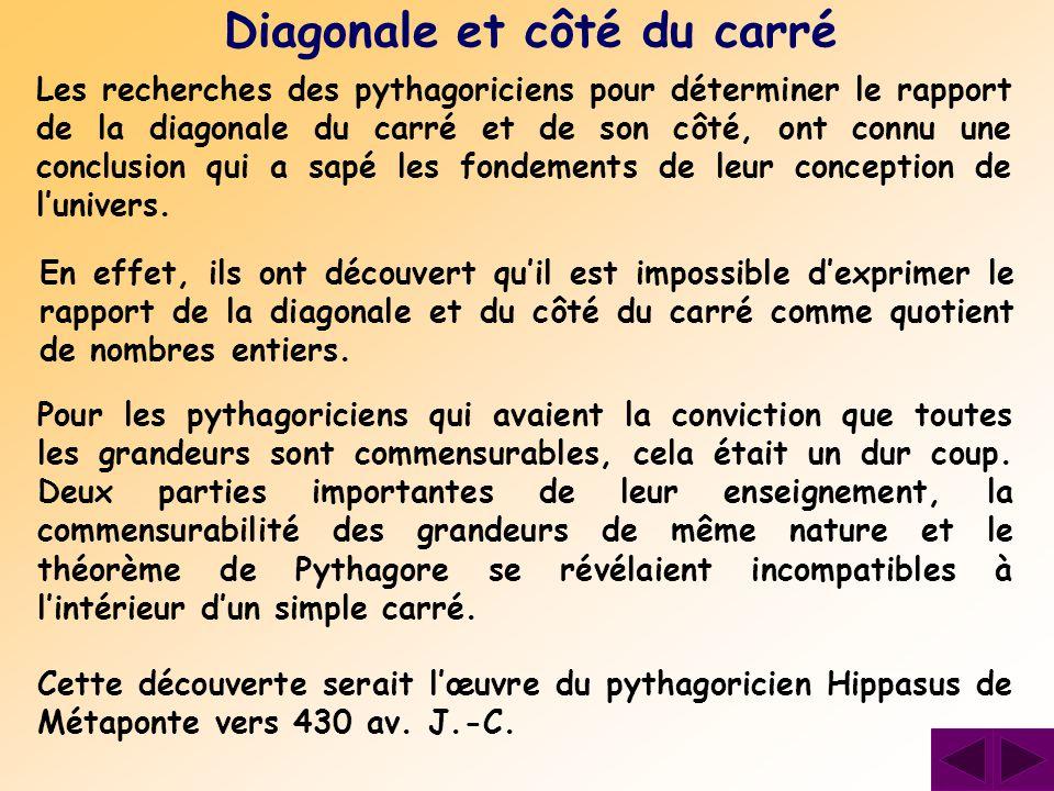 Les recherches des pythagoriciens pour déterminer le rapport de la diagonale du carré et de son côté, ont connu une conclusion qui a sapé les fondemen