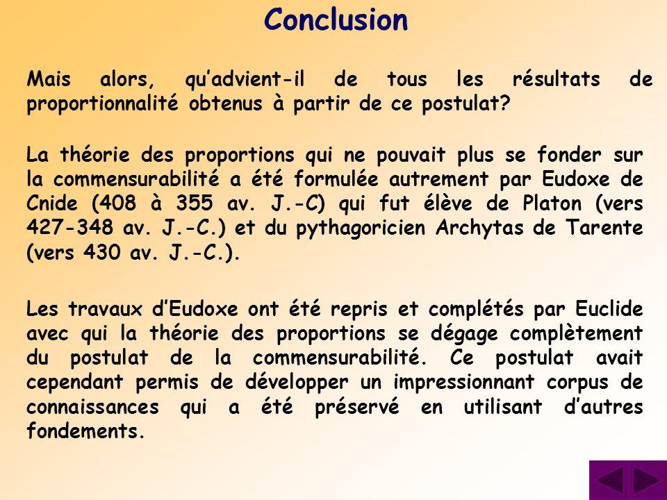 La théorie des proportions qui ne pouvait plus se fonder sur la commensurabilité a été formulée autrement par Eudoxe de Cnide (408 à 355 av. J.-C) qui