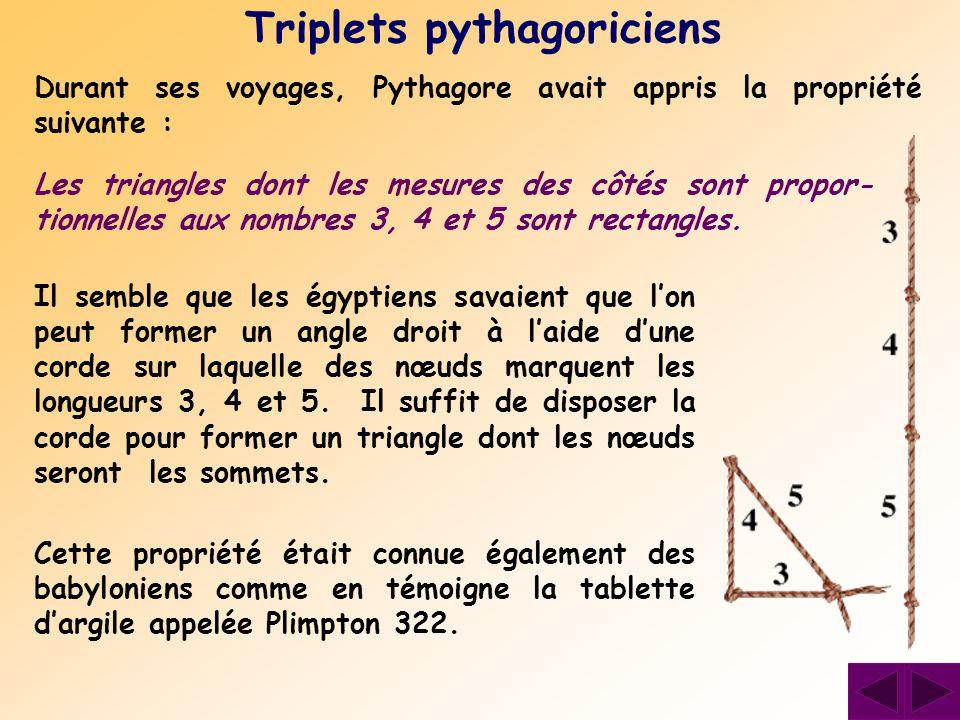Durant ses voyages, Pythagore avait appris la propriété suivante : Triplets pythagoriciens Les triangles dont les mesures des côtés sont propor- tionn