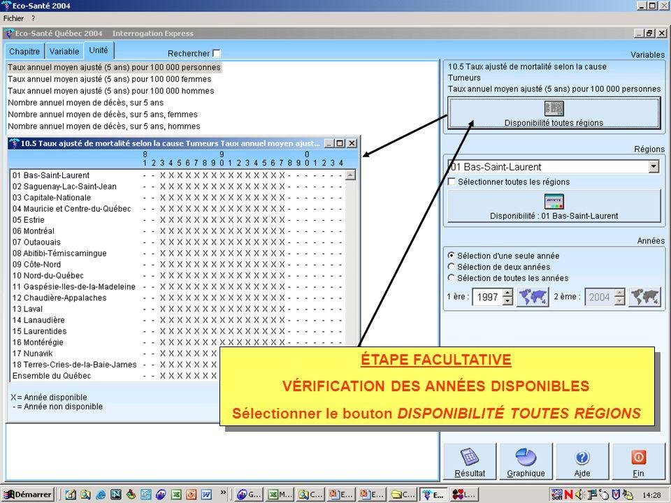 ÉTAPE FACULTATIVE VÉRIFICATION DES ANNÉES DISPONIBLES Sélectionner le bouton DISPONIBILITÉ TOUTES RÉGIONS ÉTAPE FACULTATIVE VÉRIFICATION DES ANNÉES DISPONIBLES Sélectionner le bouton DISPONIBILITÉ TOUTES RÉGIONS