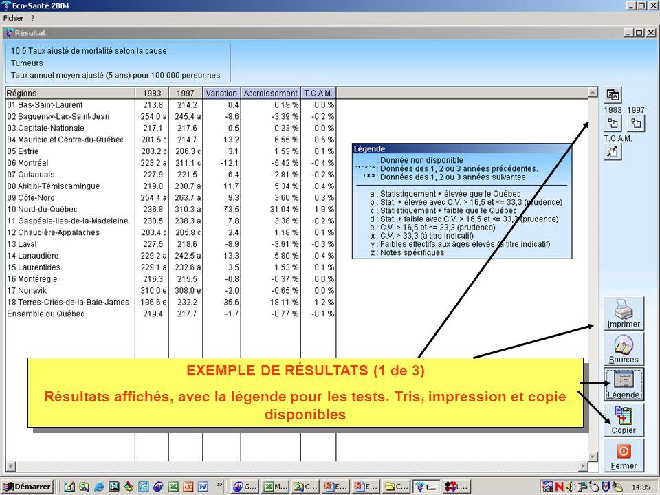 EXEMPLE DE RÉSULTATS (1 de 3) Résultats affichés, avec la légende pour les tests. Tris, impression et copie disponibles EXEMPLE DE RÉSULTATS (1 de 3)