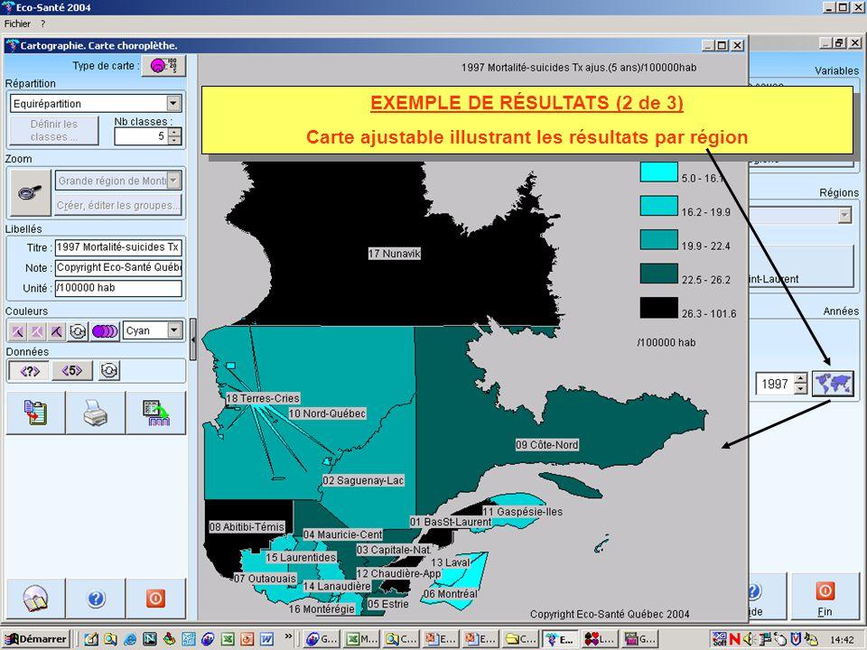 EXEMPLE DE RÉSULTATS (2 de 3) Carte ajustable illustrant les résultats par région EXEMPLE DE RÉSULTATS (2 de 3) Carte ajustable illustrant les résulta