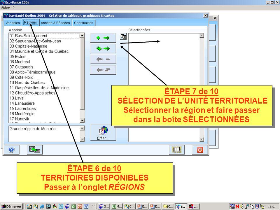 ÉTAPE 7 de 10 SÉLECTION DE LUNITÉ TERRITORIALE Sélectionner la région et faire passer dans la boîte SÉLECTIONNÉES ÉTAPE 7 de 10 SÉLECTION DE LUNITÉ TERRITORIALE Sélectionner la région et faire passer dans la boîte SÉLECTIONNÉES ÉTAPE 6 de 10 TERRITOIRES DISPONIBLES Passer à longlet RÉGIONS ÉTAPE 6 de 10 TERRITOIRES DISPONIBLES Passer à longlet RÉGIONS